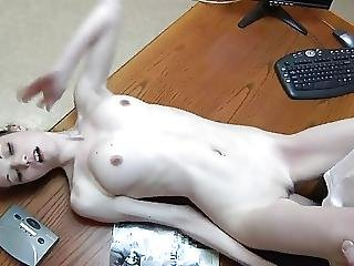 Brunette, Cream, Creampie, Doggystyle, Fucking, Office, Skinny, Small Tits, Teen