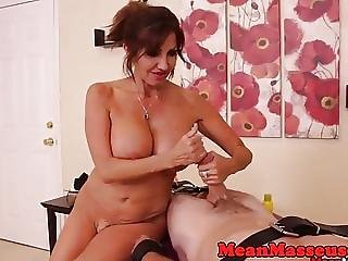 Mature Masseuse Humiliating Cumstomer With Cum Control