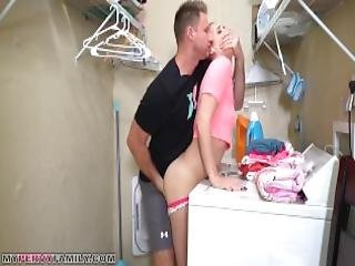 Step Sister Sierra Nicole Gets Cream Pie On Top Of Washer By Older Brother