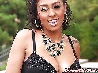 Busty Ebony Deepthroating And Ballsucking