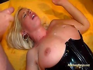 Latex Babe In Wild Gangbang