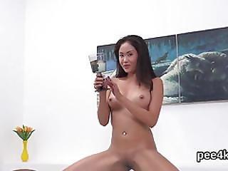 Stellar Teenie Is Pissing And Masturbating Shaved Vulva