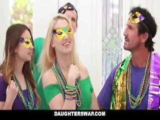 Daugherswap Hot Teens Fuck Dads During Mardis Gras