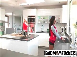 Hot milf licks her step daugthers pussy in the kitchen