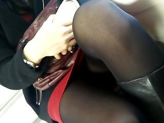 Candid Slut Opening Her Legs For Me On Train