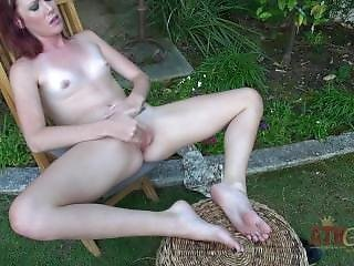 Elle Alexandra Rubs Lotion And Pussy Outside