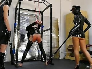 Latex Dominatrix Couple Punish Tied Up Slave