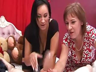 Horny Women Pulling Slaping And Pinching Cock