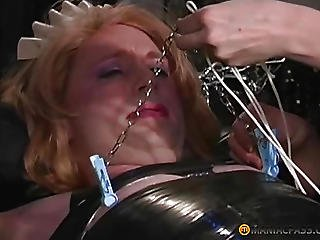 The Girl Strapped To Her Nipples Clothespins