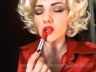 blondine, fetisch, lippenstift