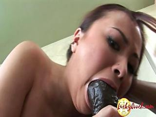Skinny Light Skinned Tiny Asian Deep Fucked By Big Black Fat Cock In Mouth