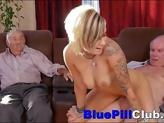 Dirty Teen Slut Blows And Bangs A Couple Of Grandpas