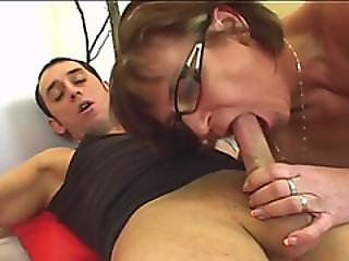 A Slutty Older Woman Rubs Her Pussy Before Stud Fucks Her As Hard As He Can