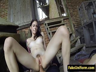 Outdoor Ass Fucked Babe Takes Officer Cock Atm