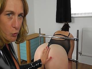 Mistress Flogs Crystal In Bondage