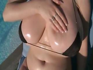 Bikini, Brunette, Masturbation, Pool, Solo, Swimsuit