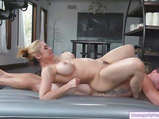 Busty Stepmom Gives Stepson Nuru Massage And Sucks His Cock