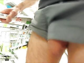76 Freeballing Nylon Shorts Cock Out Shopping