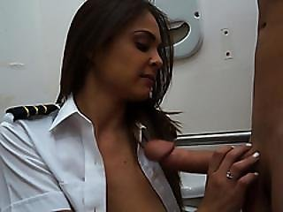 Cute And Brunette Latina Stewardess Gets Fucked By Shawns Big Dick