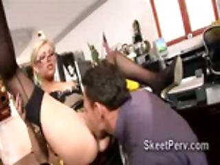 Extremely Hot Blonde Mature Secretary Donna Bell Sucks Cock At The Office