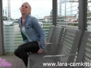 amatorski, blondynka, niemka, masturbacja, na dworze, publicznie, pochwowy