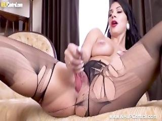 Hot Busty Babe Roxy Mendez Has Kinky Solo Action Masturbating With Big Dildo In Pantyhose