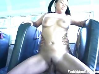 Filthy College Oriental Babe Gets Her Tight Pussy Fucked On School Bus