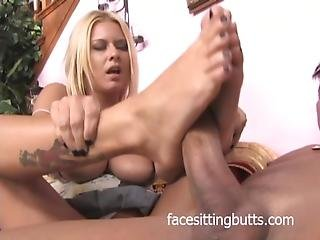 Gorgeous Blonde Makes A Dick Hard With Her Feet