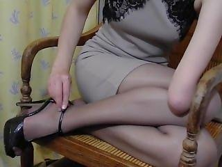 Arm Amputee Putting On Stockings And Heels Again