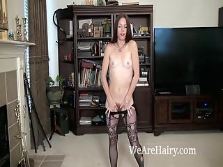 brunette, behåret, rødhåret, alene, stripper