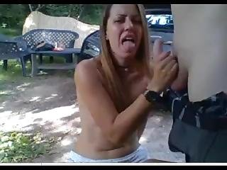 20yo Cum Facial Outdoors In A Park