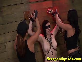 Chained Inked Sub Fingered In Threesome