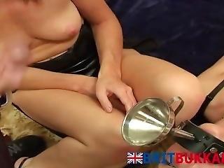 Brit Slut Sucking Dicks In Bukkake Party