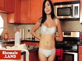 Solo Tgirl Beauty Wanks Cock In The Kitchen