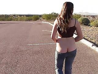 Goddess Walks Roadside Flash Ass Tits Pussy Low Rise Jeans