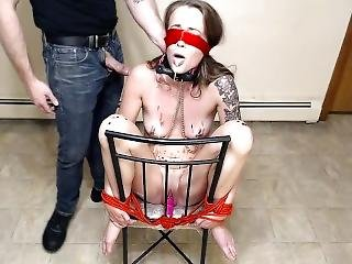 Little Rose Wax, Piss, Belt, And Cum Bondage Domination