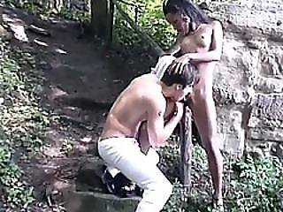 African Amateur Play Outdoors Pussy Lick Fingering