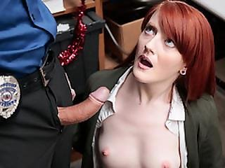 Pasty Ginger Teen Fucked In Back Office As Discipline Is Needed