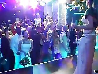 Horny Brunette Bride Eats A Big Cock In Public