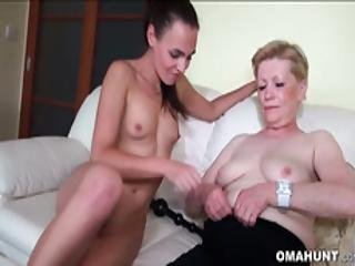 Granny Loves Threesome Sex With A Dude And A Teen