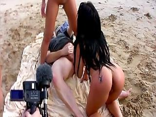 Young Latina Teens Share Big Dick On The Beach-