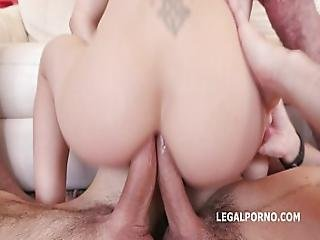 Skinny Slut Lola Shine 7on1 Double Anal Gangbang With 9 Fully Loaded Facials