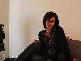 Ms Daphne Smokes In Her Boots Over Jeans. Smoking Milf.