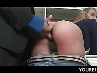 Naughty Teen Pussy Smashed Over The Desk