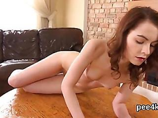 Exquisite Teenie Is Pissing And Pleasing Smooth Pussy