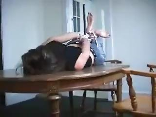 Daphne Hogtied And Gagged On Table
