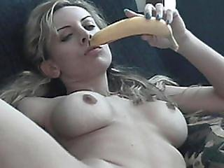 Big Tits Blonde Banana Jerking Big Cock Fetish