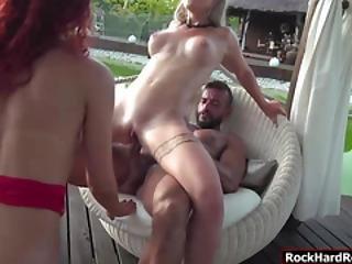 Two Horny Sluts Sucked And Fucked Instructors Big Cock