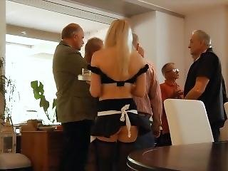 Sexy Teen Waitress Is Gangbanged By A Group Of Grandpas At The Office