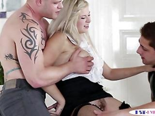 Dicksucking Stud Covers Babes Tits With Jizz